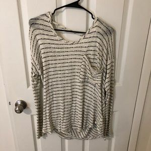 Black and white striped knit
